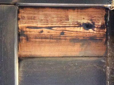Muster gereinigtes Holz einerBrandsanierung